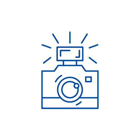Photography line concept icon. Photography flat  vector website sign, outline symbol, illustration.