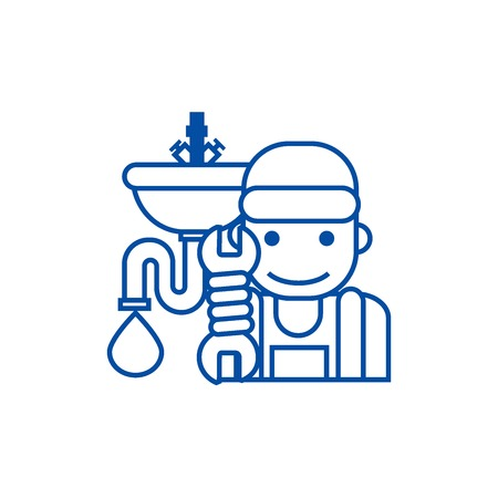 Plumbing service line concept icon. Plumbing service flat  vector website sign, outline symbol, illustration.