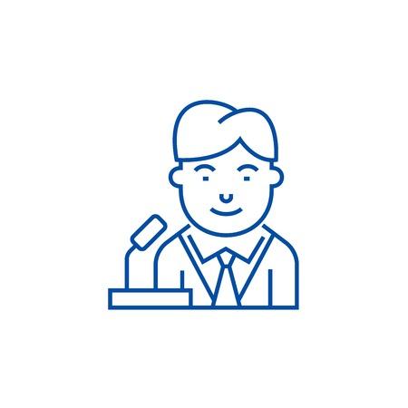 Politican line concept icon. Politican flat  vector website sign, outline symbol, illustration. Banque d'images - 119743708
