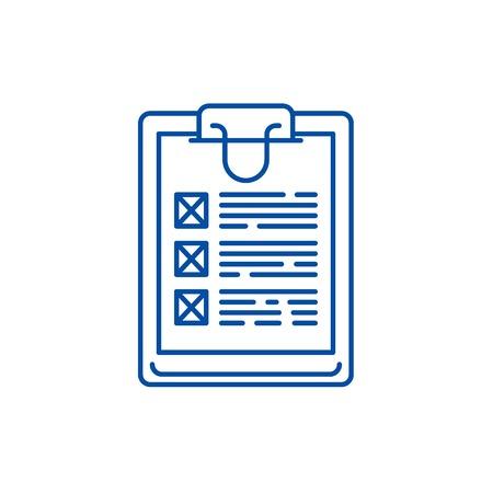 Poll line concept icon. Poll flat  vector website sign, outline symbol, illustration. Иллюстрация