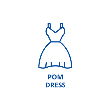 Pom dress line concept icon. Pom dress flat  vector website sign, outline symbol, illustration.