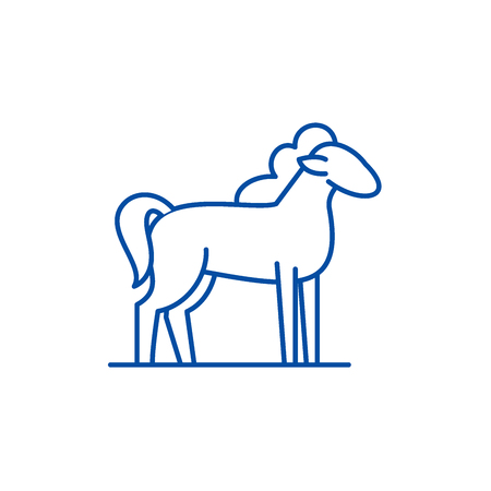 Pony line concept icon. Pony flat  vector website sign, outline symbol, illustration.