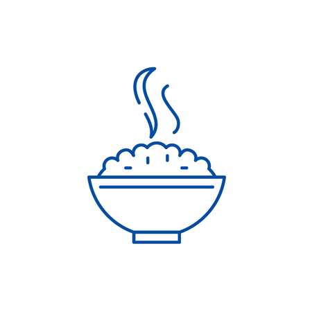 Porridge line concept icon. Porridge flat  vector website sign, outline symbol, illustration.