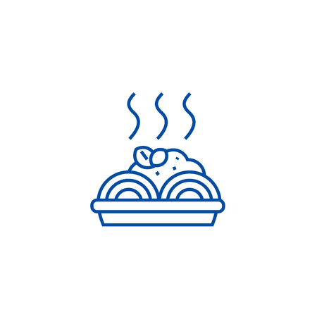 Porridge with meatballs line concept icon. Porridge with meatballs flat  vector website sign, outline symbol, illustration.