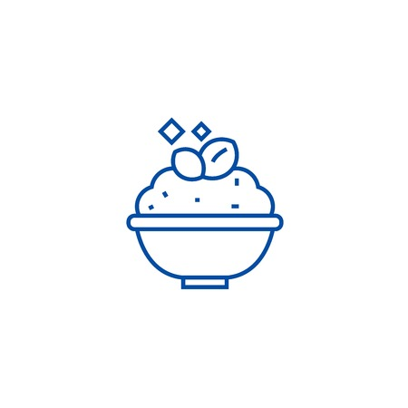 Porridge,cereal bowl line concept icon. Porridge,cereal bowl flat  vector website sign, outline symbol, illustration. Ilustração
