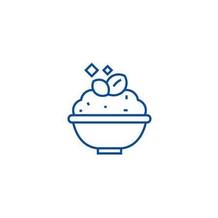 Porridge,cereal bowl line concept icon. Porridge,cereal bowl flat  vector website sign, outline symbol, illustration. Illustration