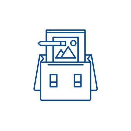 Portfolio line concept icon. Portfolio flat  vector website sign, outline symbol, illustration.