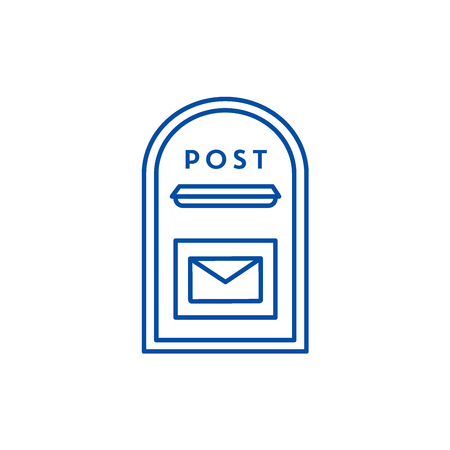 Post box line concept icon. Post box flat  vector website sign, outline symbol, illustration.