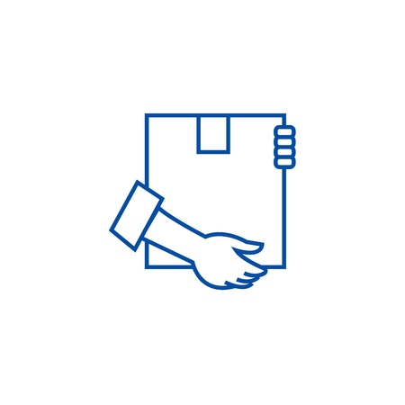 Post box with hands line concept icon. Post box with hands flat  vector website sign, outline symbol, illustration.