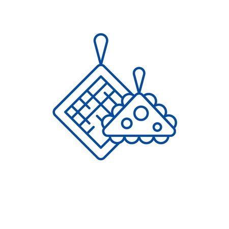 Pot holders line concept icon. Pot holders flat  vector website sign, outline symbol, illustration.