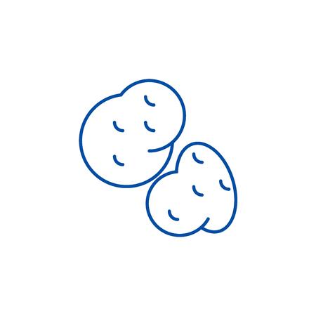 Potato line concept icon. Potato flat  vector website sign, outline symbol, illustration.