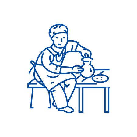 Pottery,potter,ceramist line concept icon. Pottery,potter,ceramist flat  vector website sign, outline symbol, illustration.