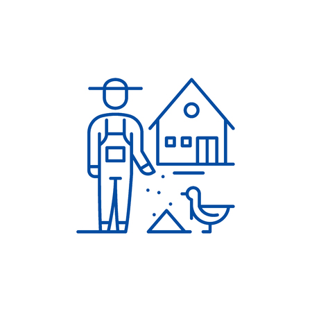 Poultry farming line concept icon. Poultry farming flat  vector website sign, outline symbol, illustration.