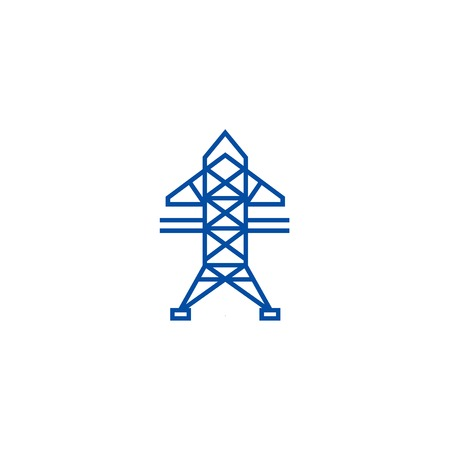 Power line line concept icon. Power line flat  vector website sign, outline symbol, illustration.