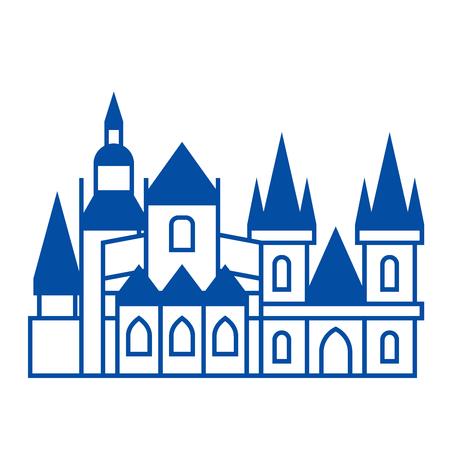 Prague line concept icon. Prague flat  vector website sign, outline symbol, illustration.
