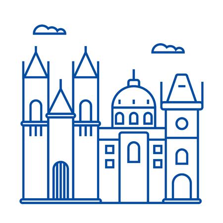 Prague sign line concept icon. Prague sign flat  vector website sign, outline symbol, illustration. Illustration
