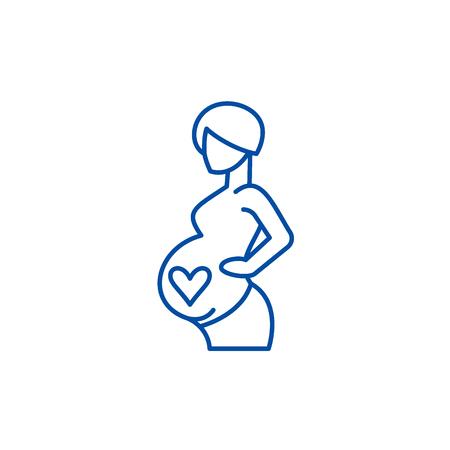 Pregnancy line concept icon. Pregnancy flat  vector website sign, outline symbol, illustration. Illustration