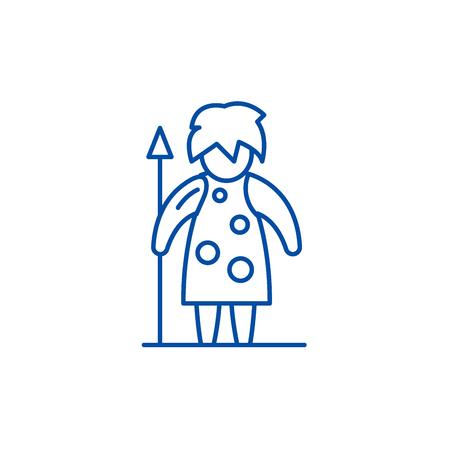 Prehistoric man line concept icon. Prehistoric man flat  vector website sign, outline symbol, illustration.