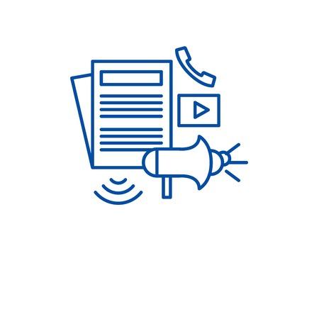 Press realese line concept icon. Press realese flat  vector website sign, outline symbol, illustration. Illustration