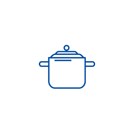 Pressure cooker,thermo pot line concept icon. Pressure cooker,thermo pot flat vector website sign, outline symbol, illustration.