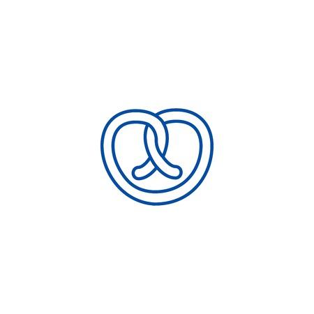 Pretzel line concept icon. Pretzel flat vector website sign, outline symbol, illustration.