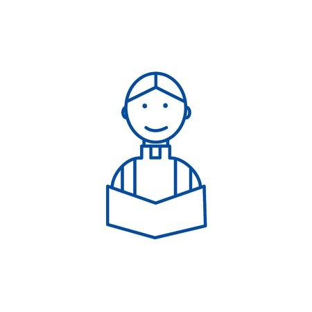 Prêtre au mariage dans l'icône de concept de ligne d'église. Prêtre au mariage à l'église vecteur télévision signe site Web, symbole du contour, illustration.