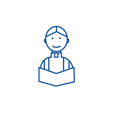 Priest at wedding in church line concept icon. Priest at wedding in church flat  vector website sign, outline symbol, illustration.