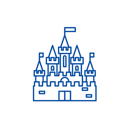 Princess castle line concept icon. Princess castle flat  vector website sign, outline symbol, illustration. Foto de archivo - 119765188