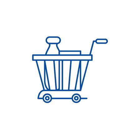 Product basket line concept icon. Product basket flat  vector website sign, outline symbol, illustration. Banque d'images - 120073484