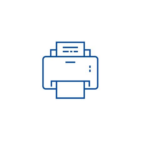 Printer line concept icon. Printer flat  vector website sign, outline symbol, illustration.