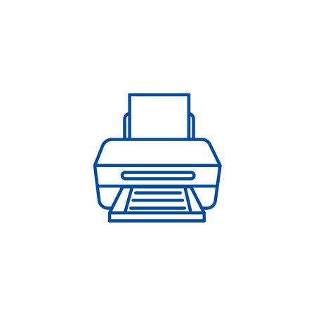Printer with paper line concept icon. Printer with paper flat  vector website sign, outline symbol, illustration.
