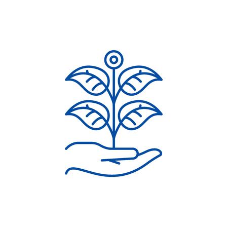 Private garden line concept icon. Private garden flat  vector website sign, outline symbol, illustration. Illustration
