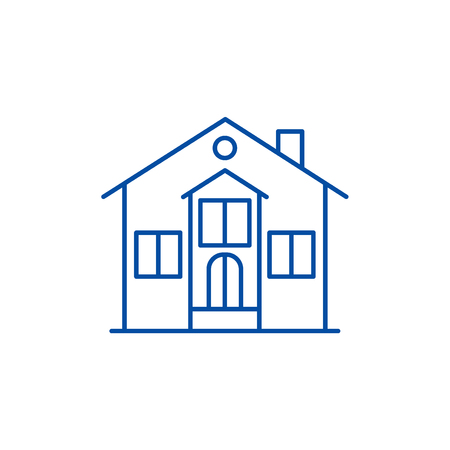 Private house line concept icon. Private house flat  vector website sign, outline symbol, illustration.