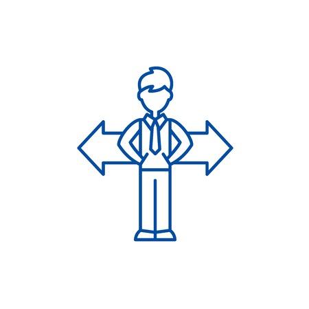 Problem der Auswahl Symbol Leitung Konzept. Problem der Wahl flaches Vektor-Website-Zeichen, Umrisssymbol, Illustration.
