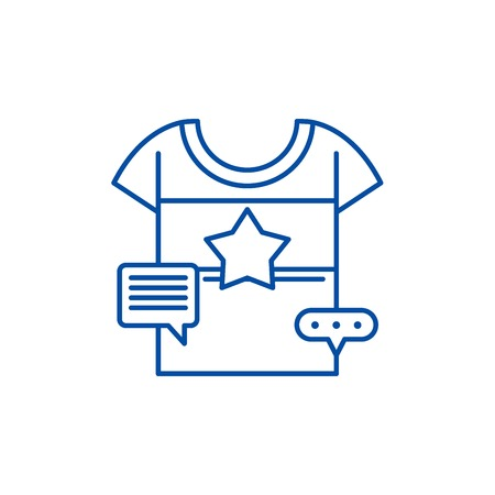Promotional clothing line concept icon. Promotional clothing flat  vector website sign, outline symbol, illustration.