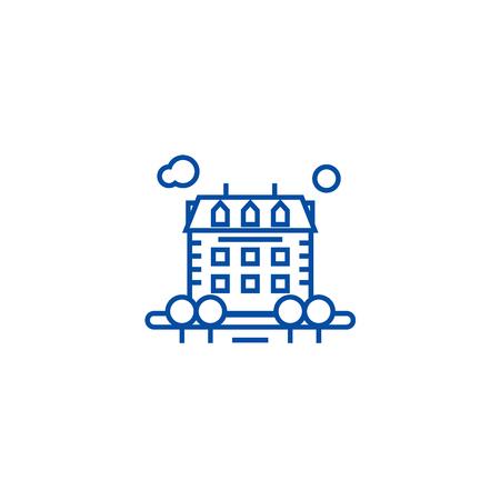 Property line concept icon. Property flat  vector website sign, outline symbol, illustration. Ilustração