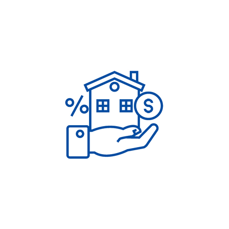Property investment line concept icon. Property investment flat  vector website sign, outline symbol, illustration. 일러스트