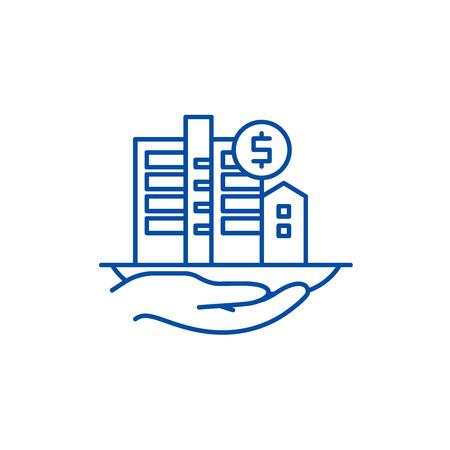 Symbol für das Konzept der Immobilienbewertung. Immobilienbewertung flaches Vektor-Website-Zeichen, Umrisssymbol, Illustration. Vektorgrafik