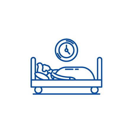 Prokastination line concept icon. Prokastination flat  vector website sign, outline symbol, illustration. Ilustração