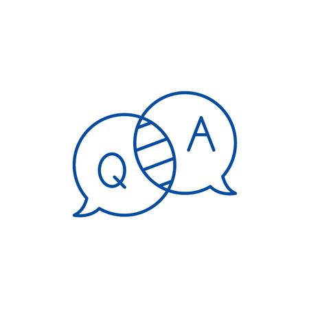 Icône de concept de ligne de questions et réponses. Questions et réponses vecteur plat signe de site Web, symbole du contour, illustration.