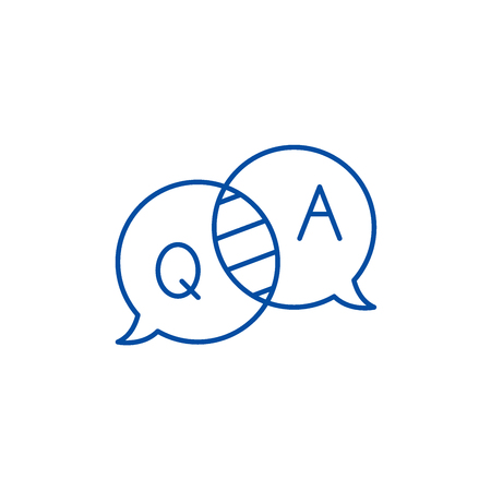 Questions and answers line concept icon. Questions and answers flat  vector website sign, outline symbol, illustration. Banque d'images - 120116326