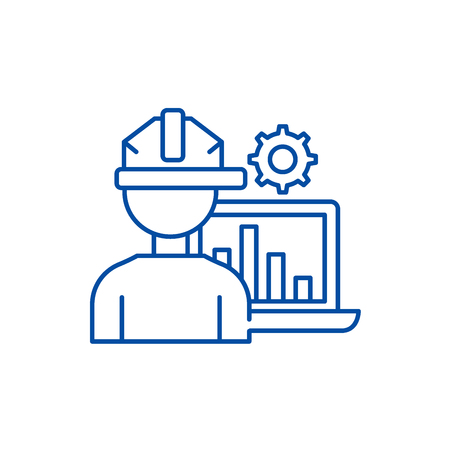 Production automation line concept icon. Production automation flat  vector website sign, outline symbol, illustration.
