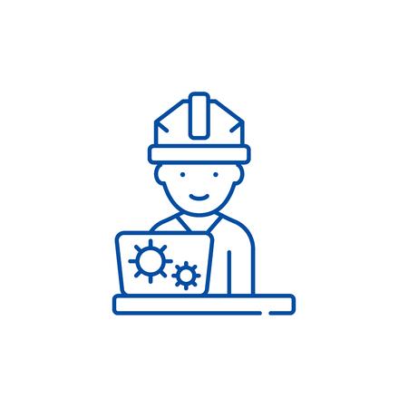 Production engineer line concept icon. Production engineer flat  vector website sign, outline symbol, illustration. Illustration