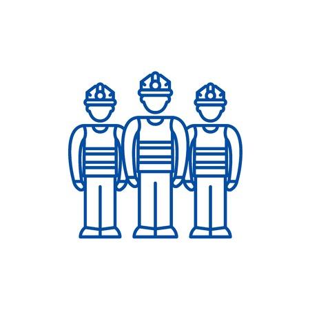 Production team line concept icon. Production team flat  vector website sign, outline symbol, illustration.  イラスト・ベクター素材
