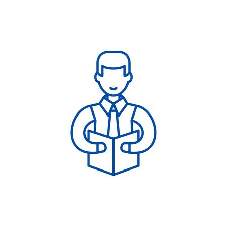Professor line concept icon. Professor flat  vector website sign, outline symbol, illustration.  イラスト・ベクター素材