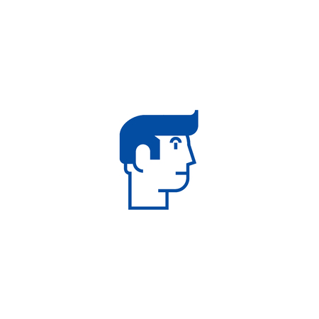 Profile man line concept icon. Profile man flat  vector website sign, outline symbol, illustration. Stock Vector - 120021474