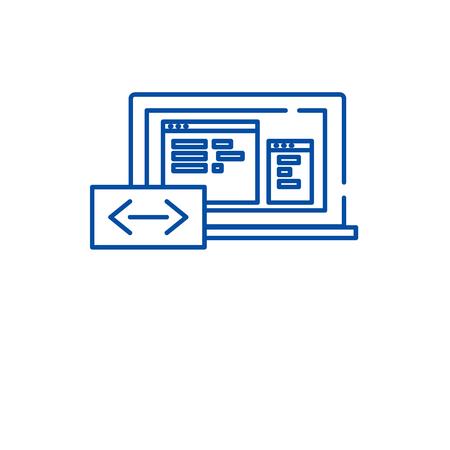 Program coding line concept icon. Program coding flat  vector website sign, outline symbol, illustration.