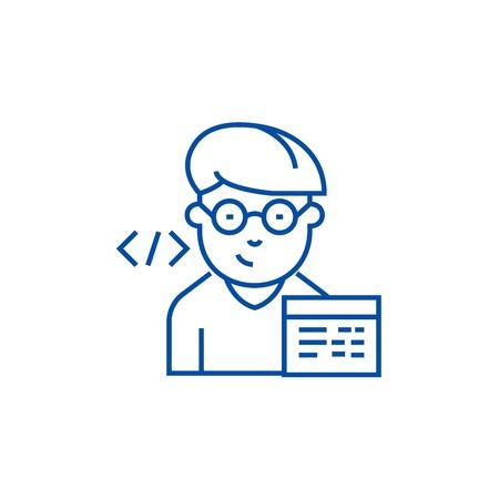 Programmer line concept icon. Programmer flat  vector website sign, outline symbol, illustration.