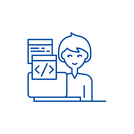 Programming line concept icon. Programming flat  vector website sign, outline symbol, illustration. Illustration
