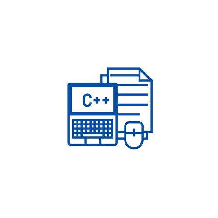 Programming,coding,notebook,  line concept icon. Programming,coding,notebook,  flat  vector website sign, outline symbol, illustration.